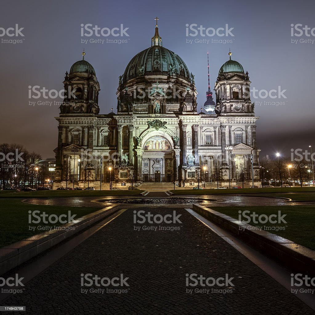 Berliner Dom at night royalty-free stock photo