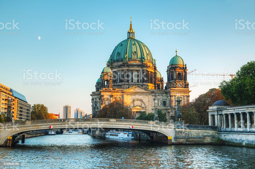 Berliner Dom cathedral in the evening stock photo