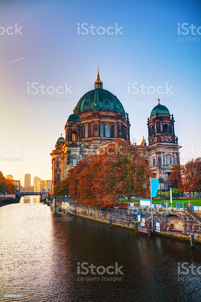 Berliner Dom cathedral in the morning stock photo