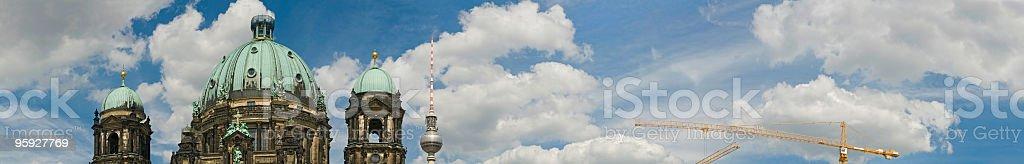 Berliner Dom Fernsehturm cloudscape stock photo
