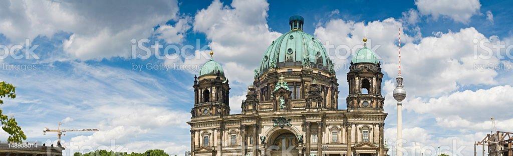 Berliner Dom Fernsehturm panoramic sky stock photo