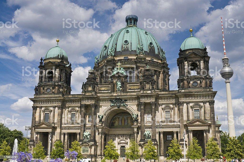 Berliner Dom Fernsehturm summer stock photo