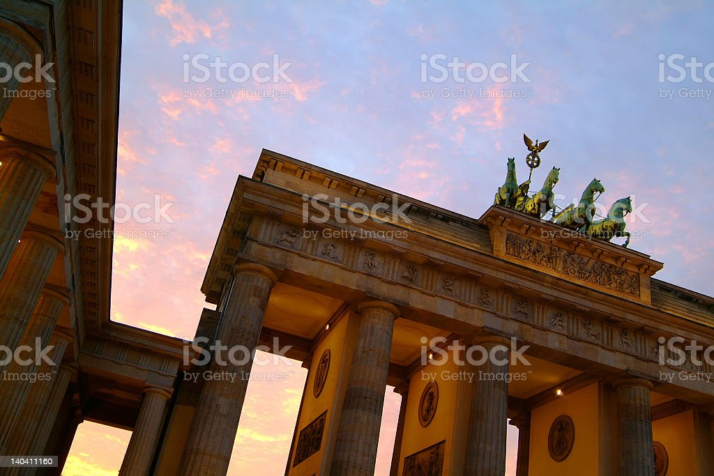Berlin's Brandenburg Gate top detail at dusk stock photo