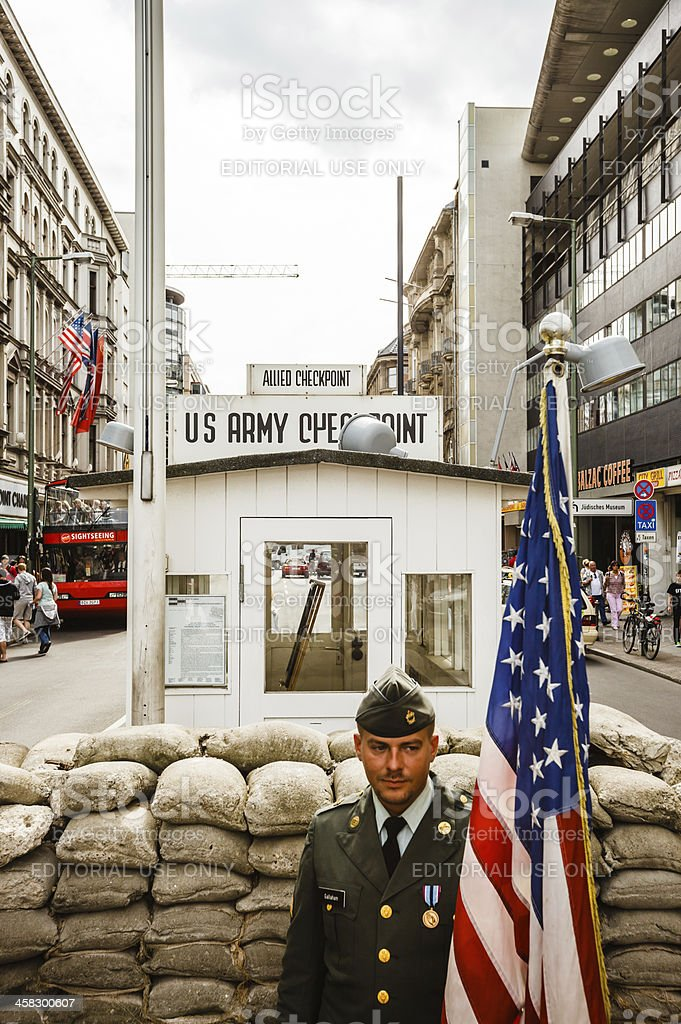 Berlin's Checkpoint Charlie royalty-free stock photo