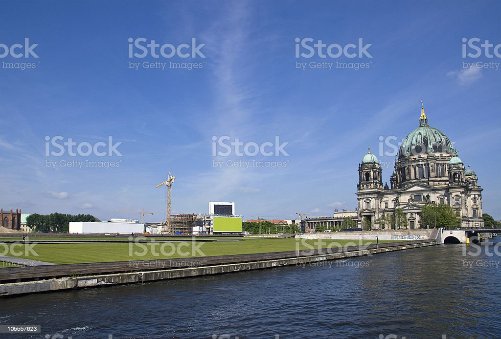 Berlins Dom, river Spree and the Schlossplatz royalty-free stock photo