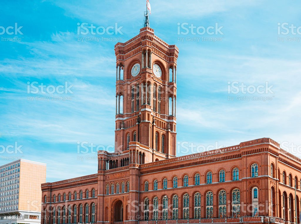 Berlins townhall (Rathaus) on a sunny day stock photo