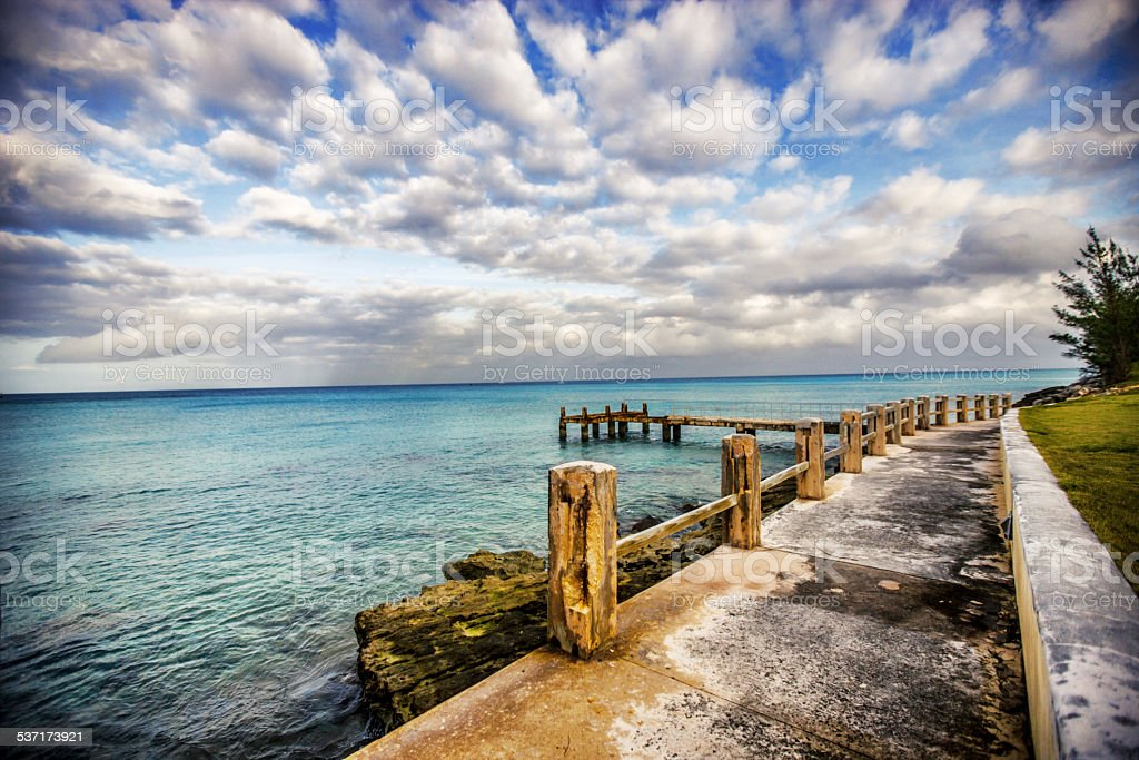 Bermuda beach and pier stock photo
