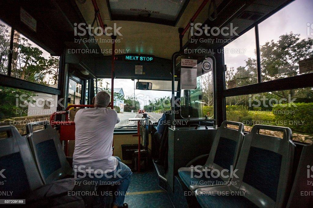 Bermuda bus from St.George to Hamilton stock photo