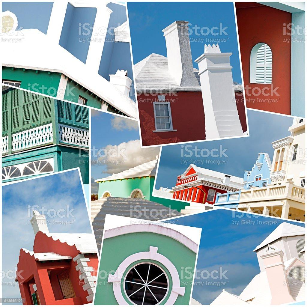 Bermuda Collage- Buildings, colorful, chimneys, facades, roofs, entrances stock photo