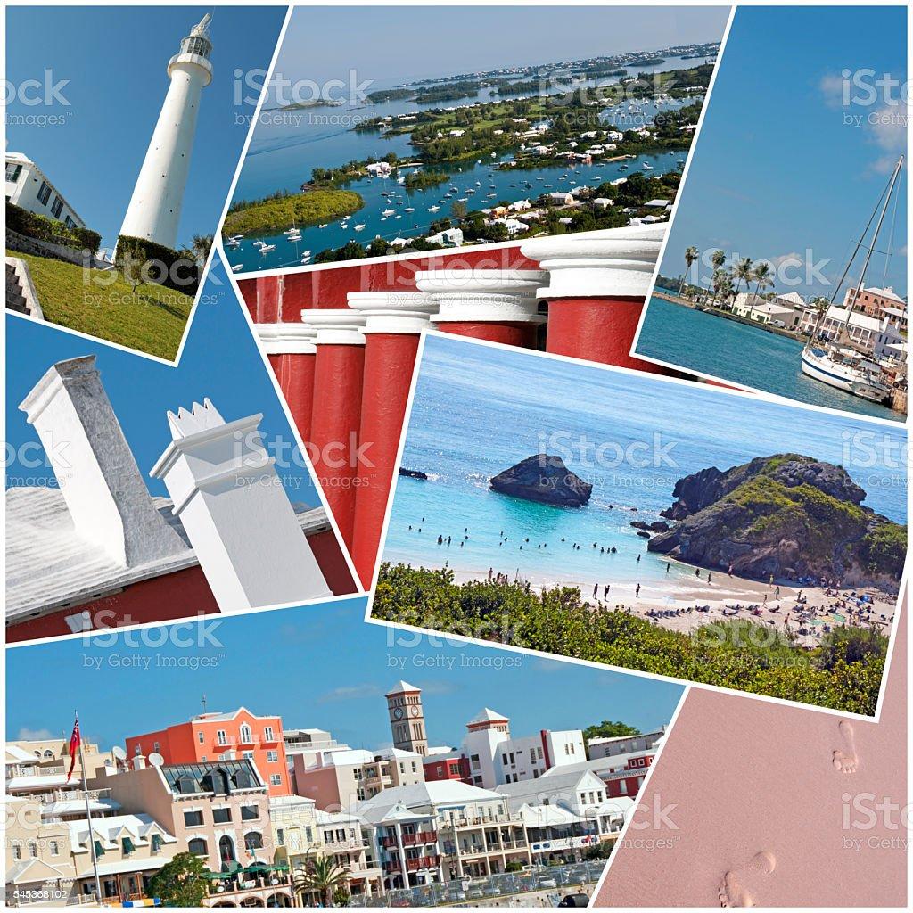 Bermuda Collage- Hamilton, Horseshoe Bay, St. Georges, Etc. stock photo