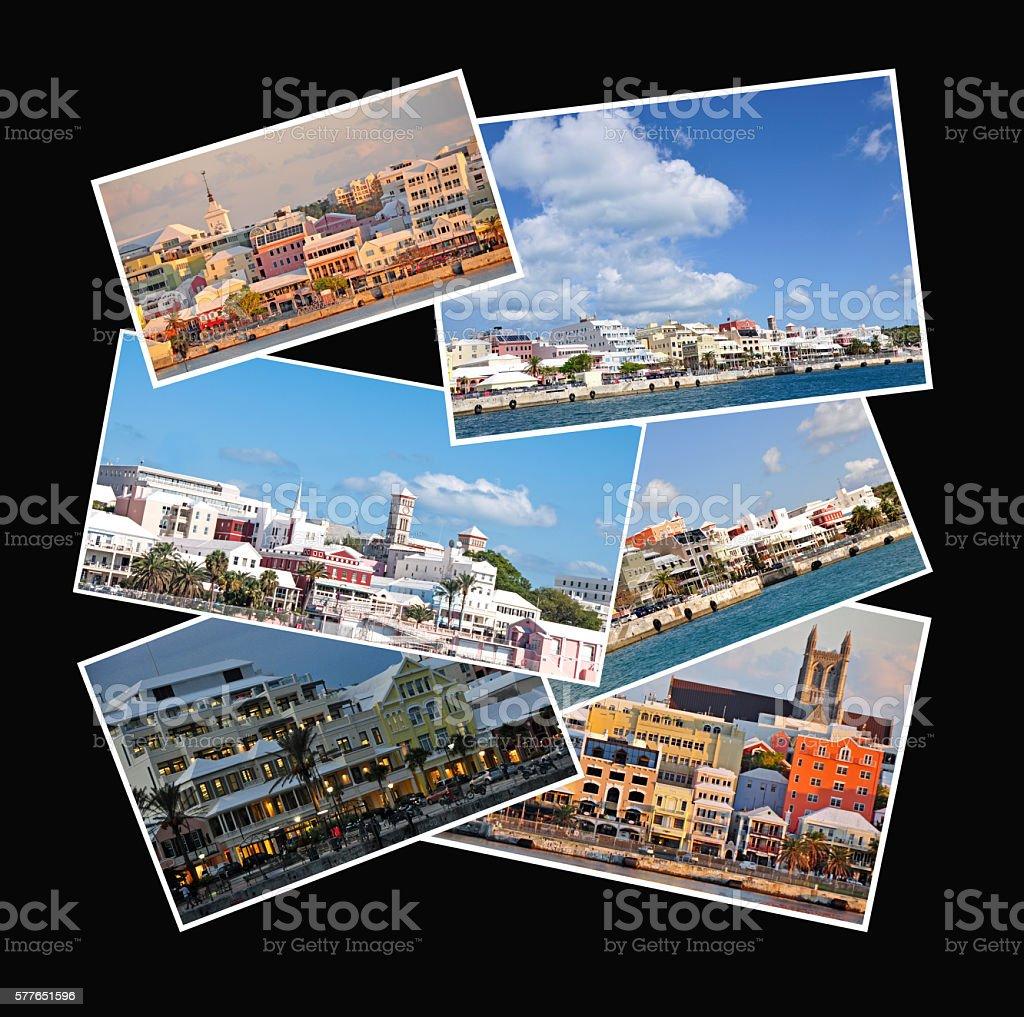 Bermuda collage of the skyline of Hamilton stock photo
