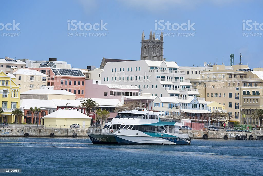 Bermuda Ferry and Hamilton Waterfront stock photo