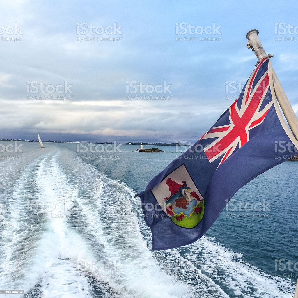 Bermuda Flag on a ferry stock photo