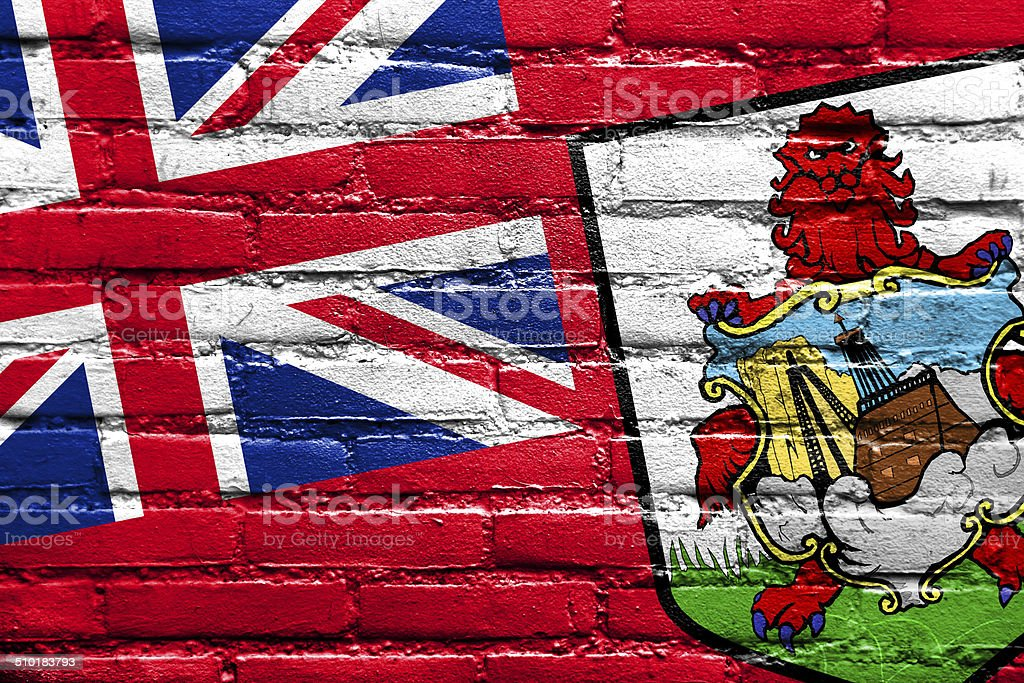 Bermuda Flag painted on brick wall stock photo