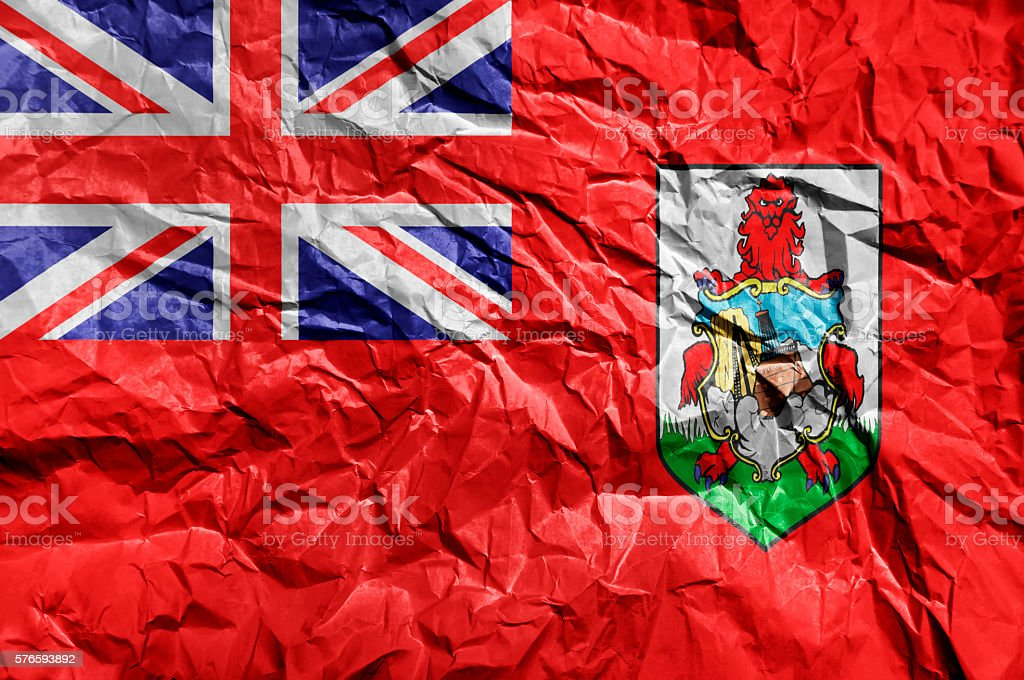Bermuda flag painted on crumpled paper background stock photo