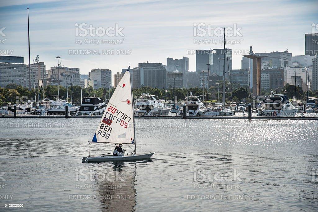 Bermuda Laser Radial Sailor in Guanabara Bay stock photo
