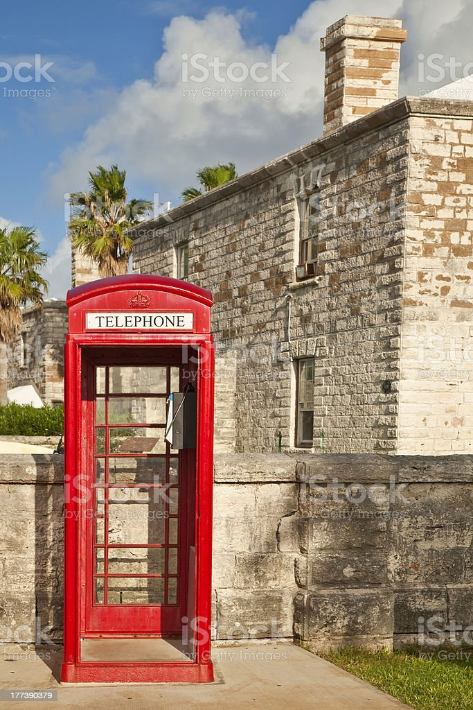 Bermuda Red Telephone Box royalty-free stock photo