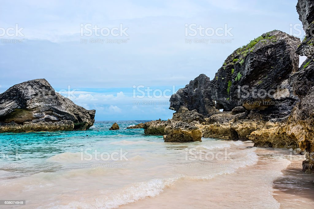 Bermuda Rock and Sea stock photo