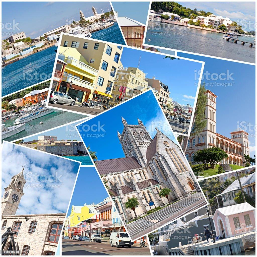 Bermuda Towns and Buildings Collage- Hamilton, Parliament, Flats, Dockyard- Etc. stock photo