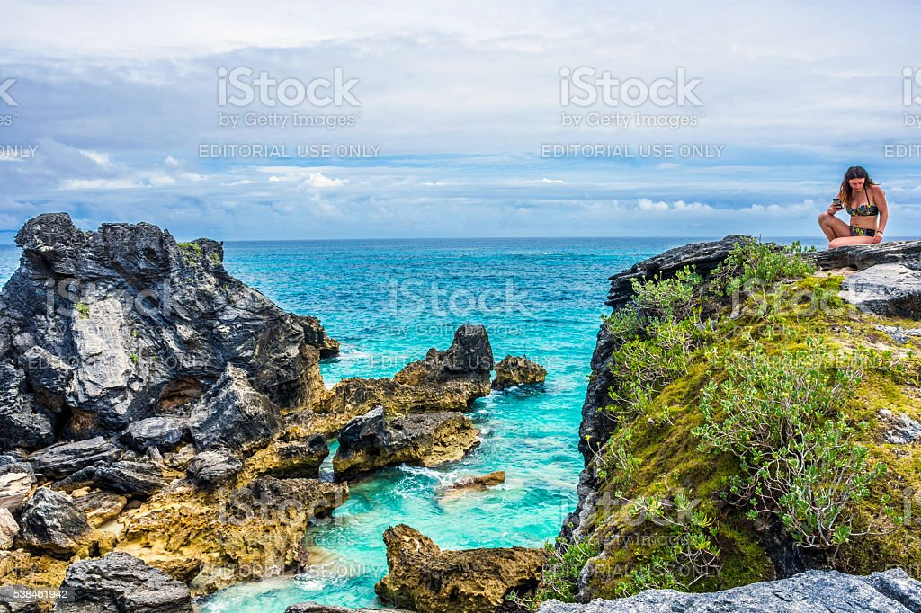 Bermuda View Horseshoe Bay stock photo