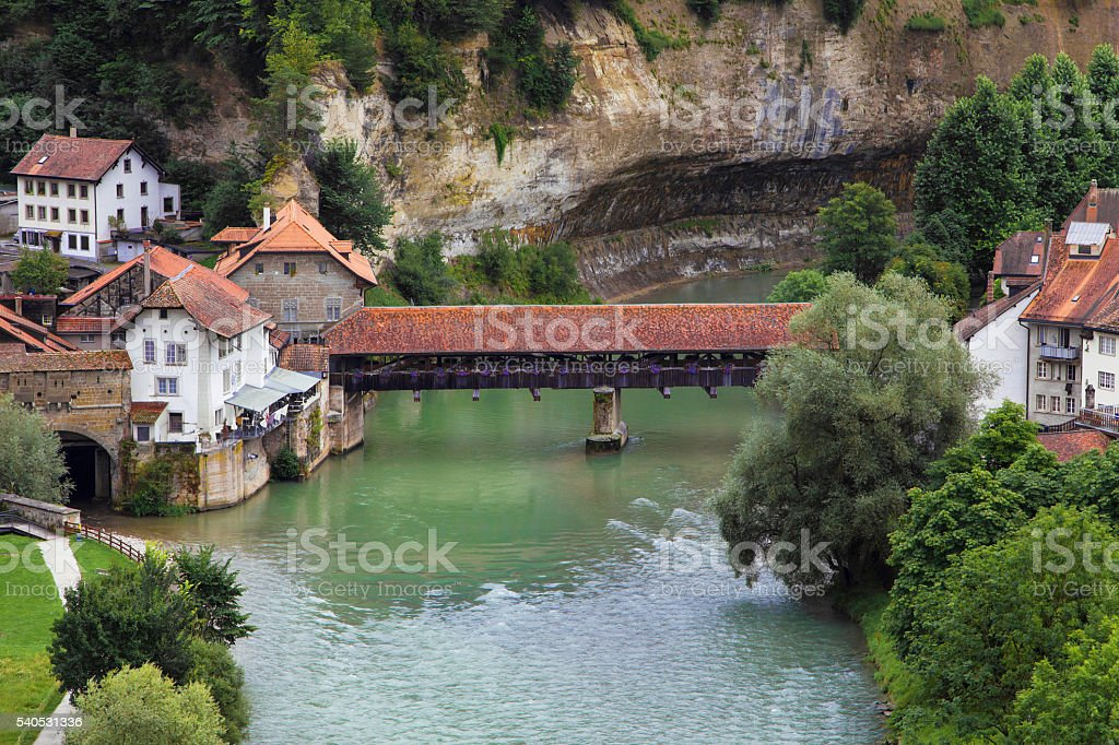 Pont de Berne in Fribourg stock photo