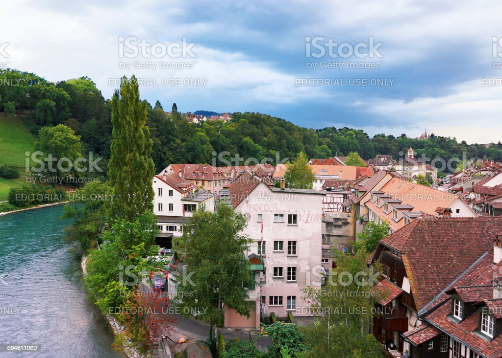 Bern city landscape with Aare River and houses, Bern-Mittelland district, Switzerland. stock photo