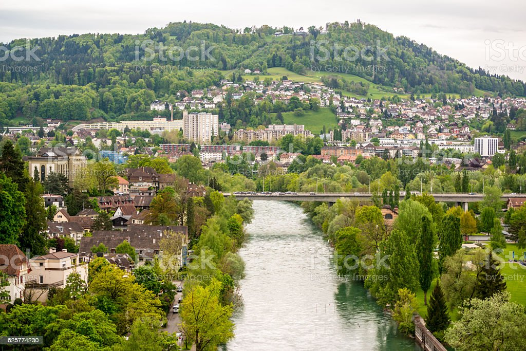 Bern cityscape from above, Switzerland stock photo