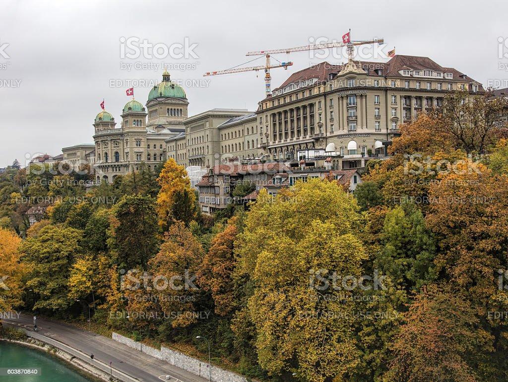Bern cityscape on an overcast day in autumn stock photo