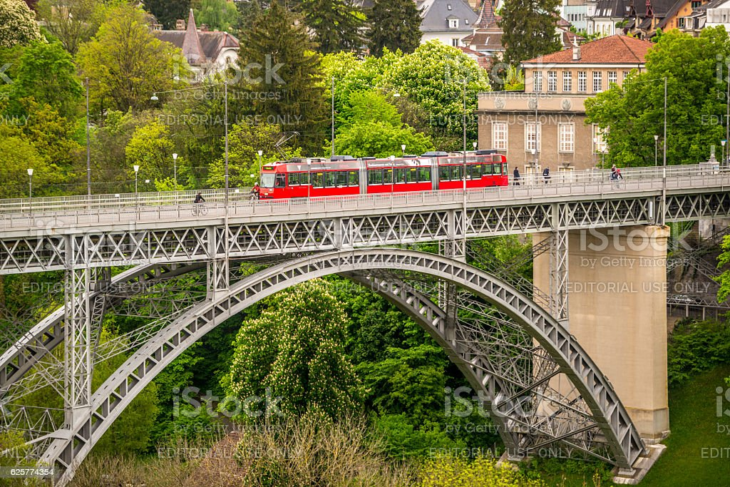 Bern cityscape with tram  from above, Switzerland stock photo