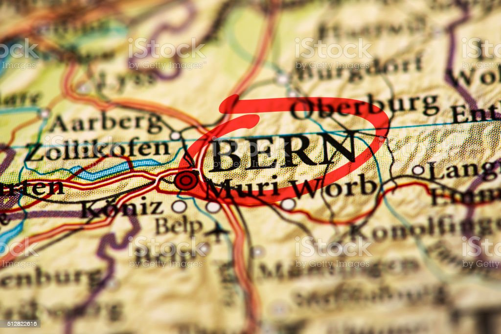 Bern marked on map with red marker stock photo