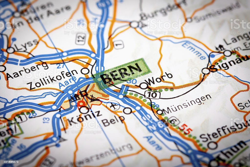 Bern on a road map stock photo