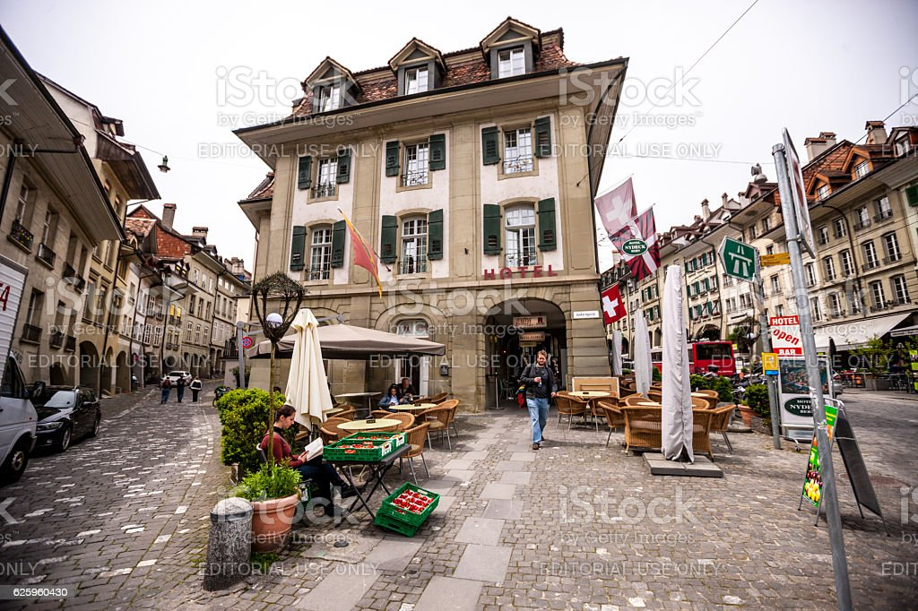 Bern street in old town, Switzerland stock photo