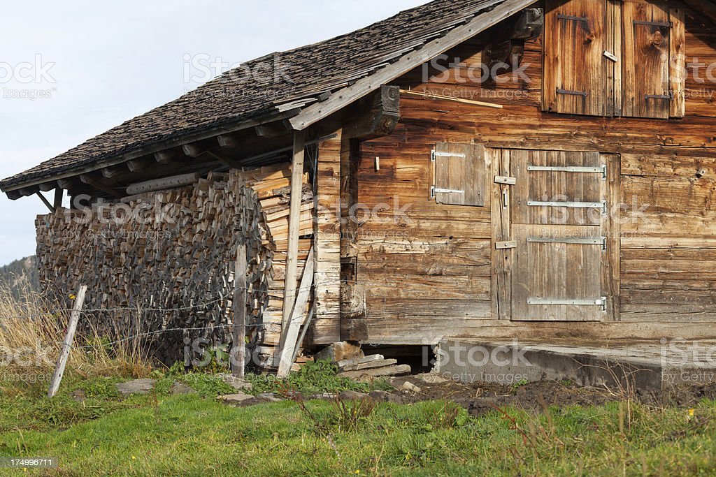 Bernese alpine hut for cattle in summer royalty-free stock photo