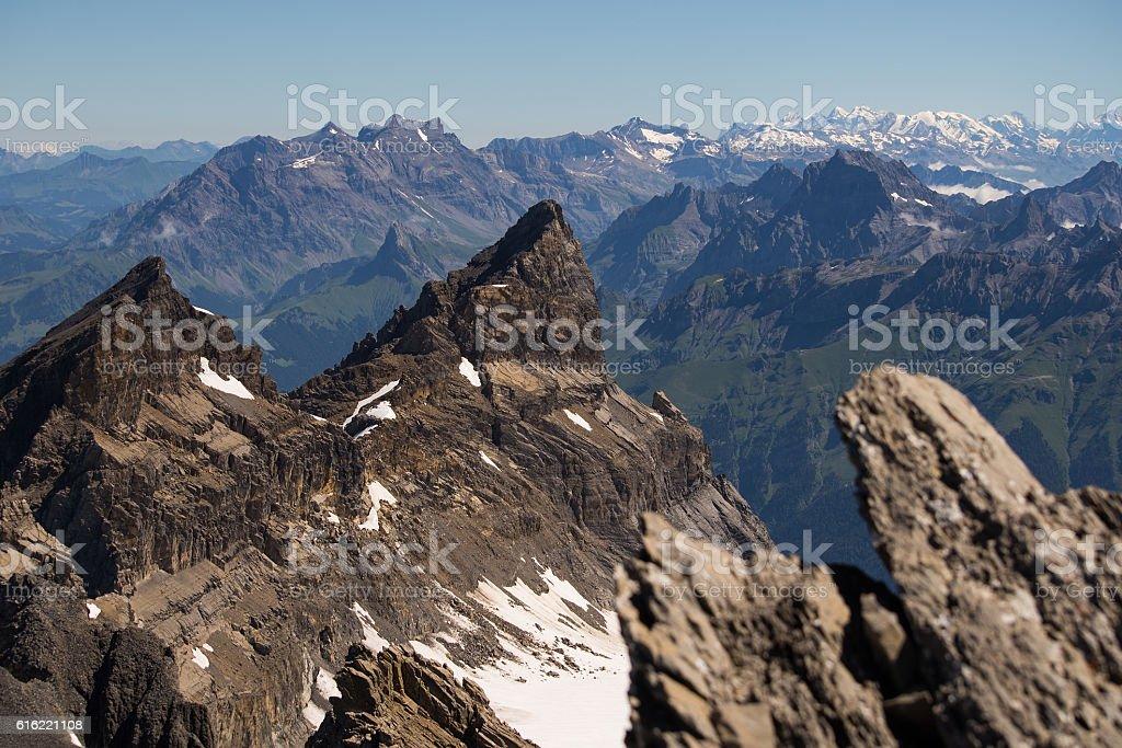 Bernese alps from Dents du Midi stock photo