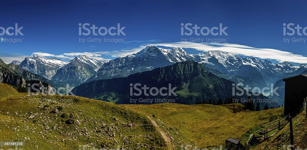 Bernese Alps panorama from Schynige Platte stock photo