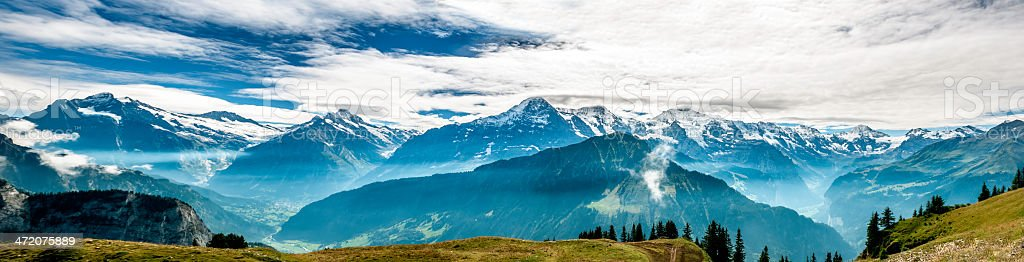 Bernese Alps panorama stock photo