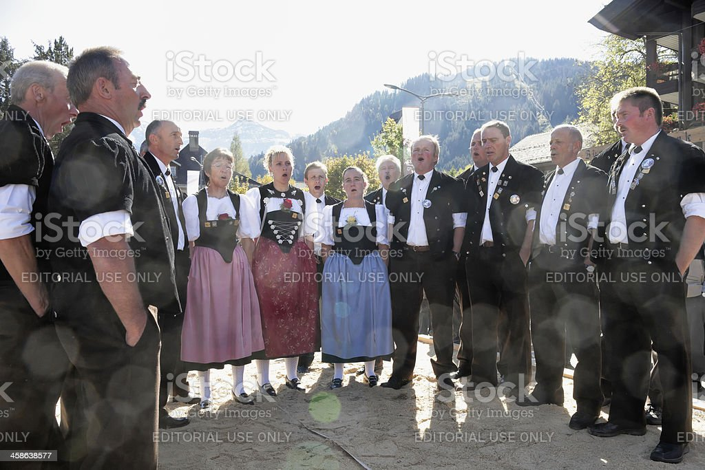 Bernese Jodler Choir Sings at Aelplerfest Lenk stock photo