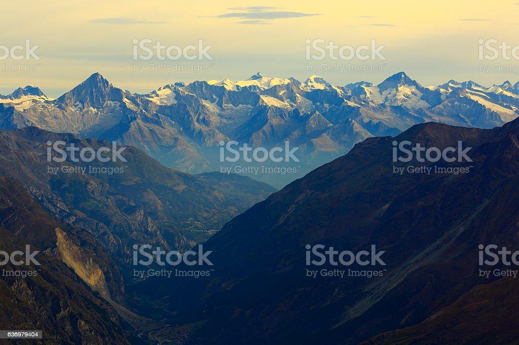 Bernese Oberland swiss alps, alpine landscape, from Klein Matterhorn stock photo