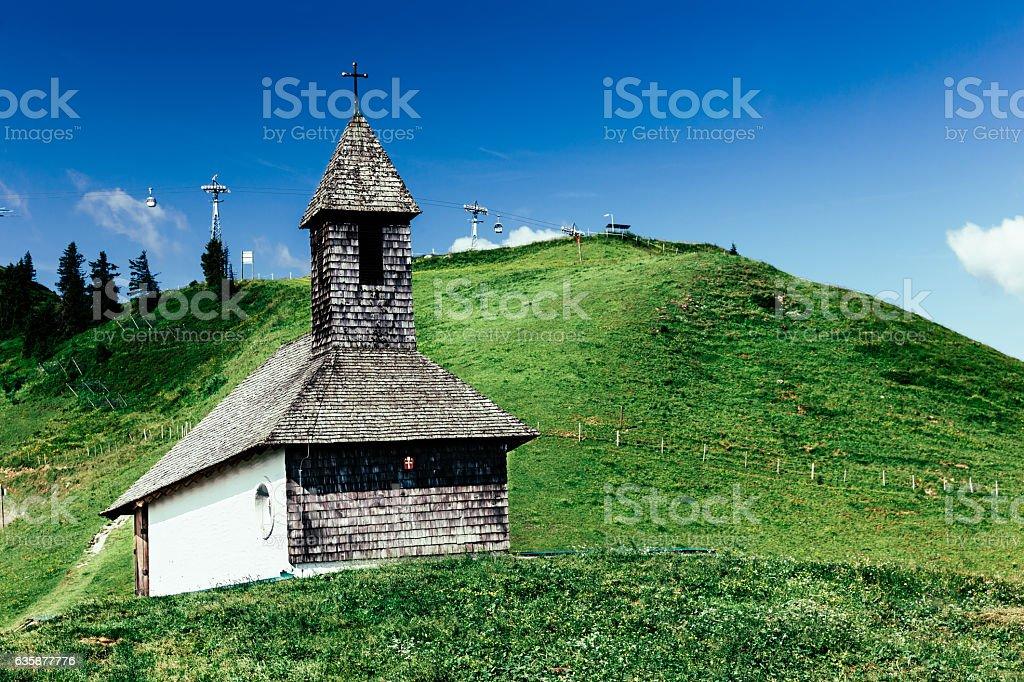 Bernhard Chapel, Hahnenkamm, Kitzbuhel Switzerland stock photo