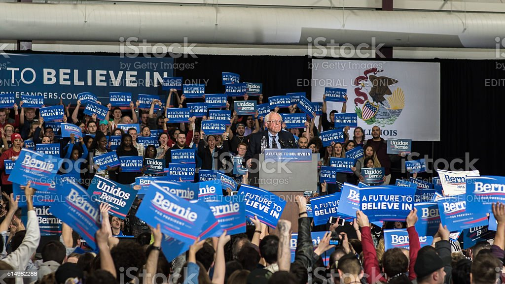 Bernie Sanders A Future to Believe In Rally in Illinois stock photo