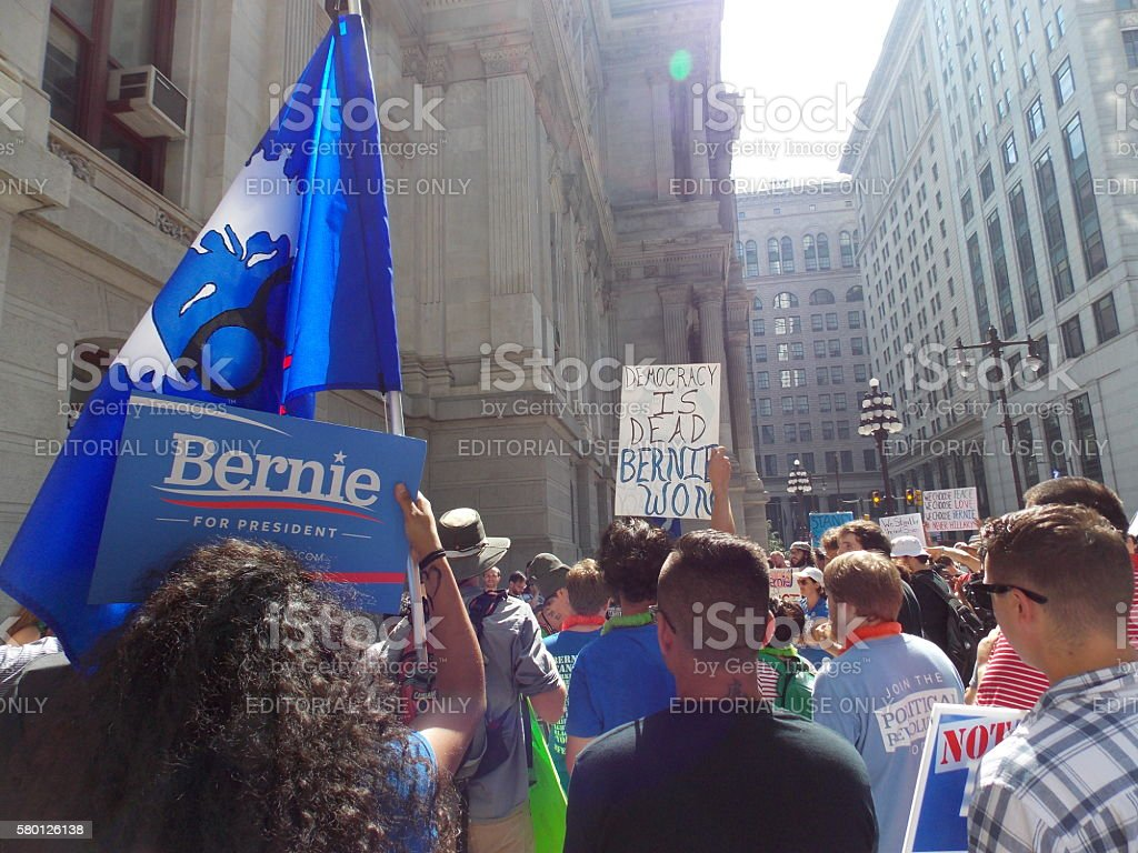 Bernie Sanders Rally at DNC in Philadelphia stock photo