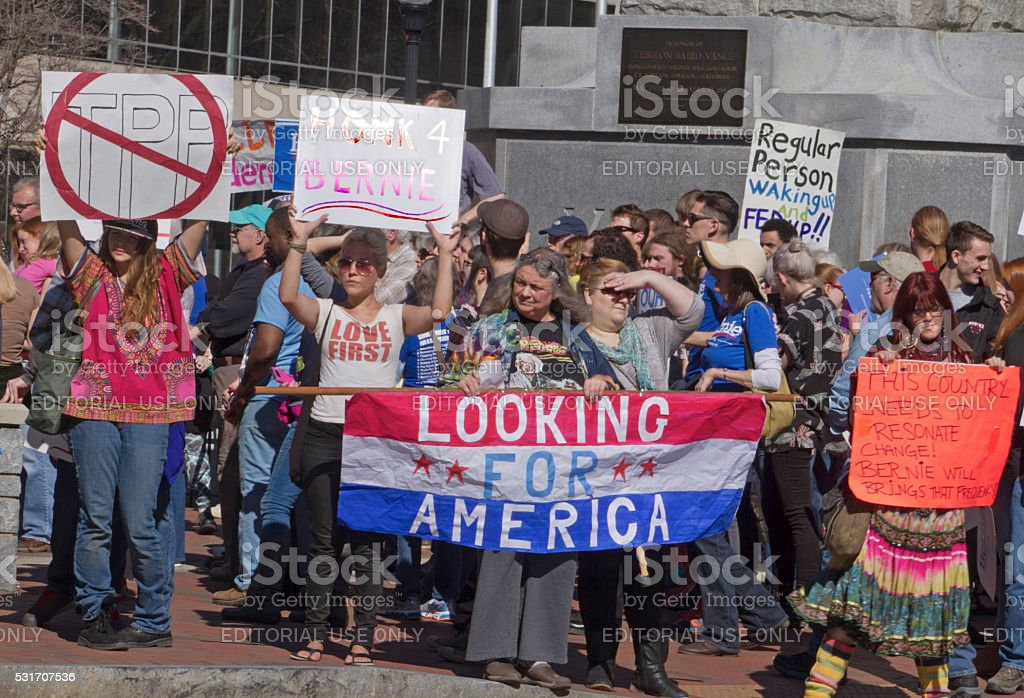 Bernie Sanders Supporters With Signs Promote Change stock photo