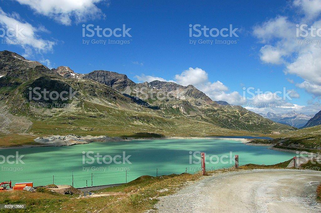 Bernina Alps and White Lake - Poschiavo Switzerland stock photo
