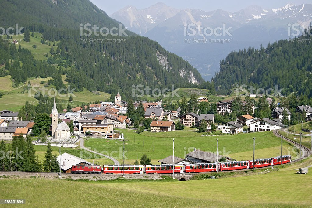 Bernina Express just outside Bergün stock photo