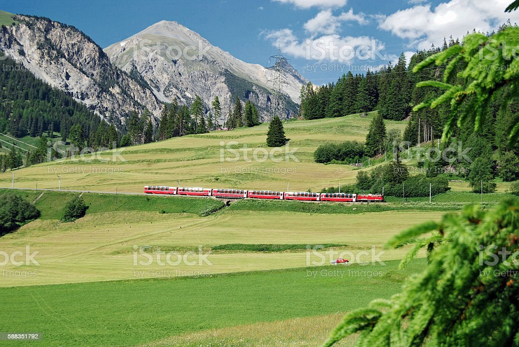 Bernina Express near Bergün stock photo