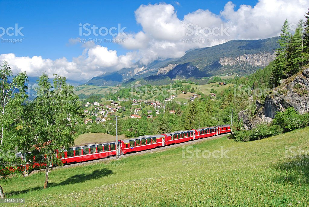 Bernina Express near Filisur (Switzerland) stock photo