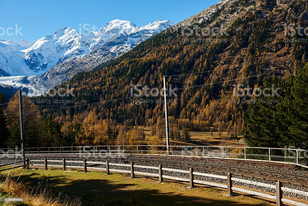 Bernina Express Railroad Track stock photo