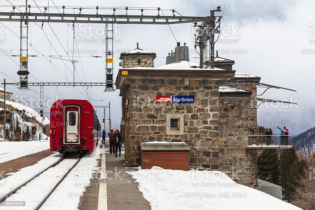 Bernina Express Stopped at Alp Grum stock photo