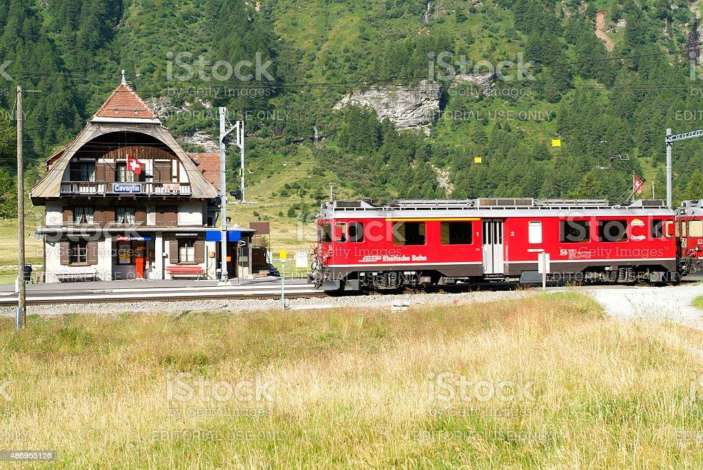 Bernina Express Train, Unesco world heritage stock photo