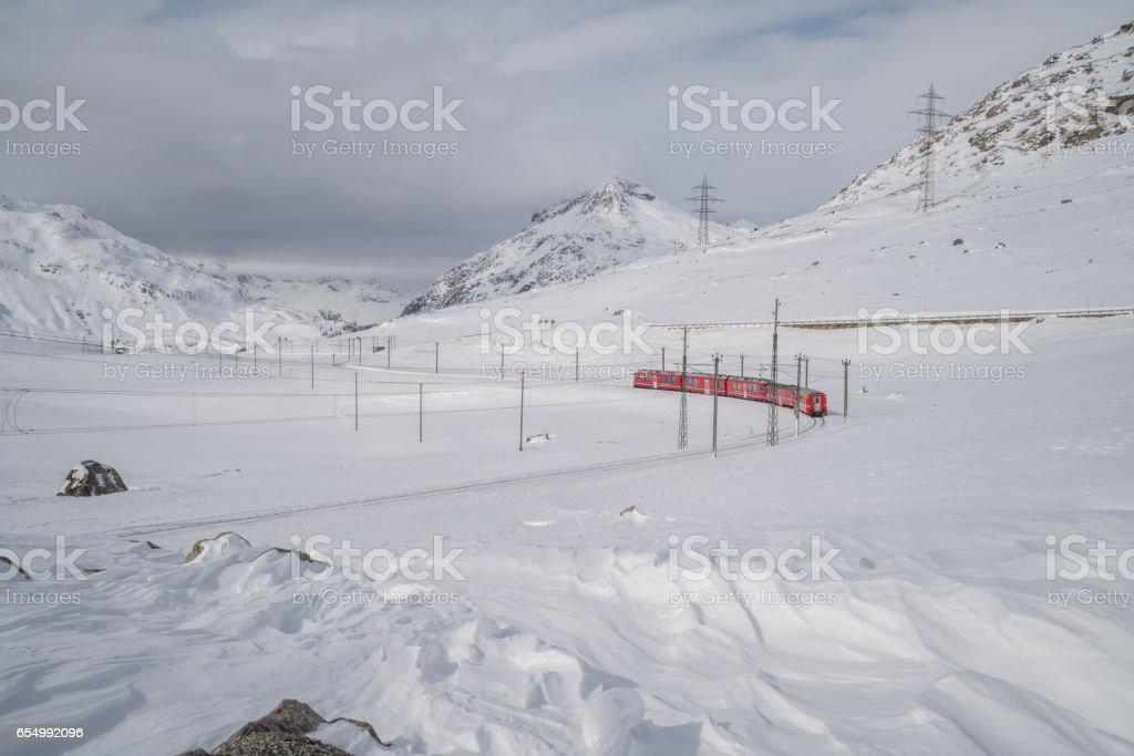Bernina Express, winter, Switzerland stock photo